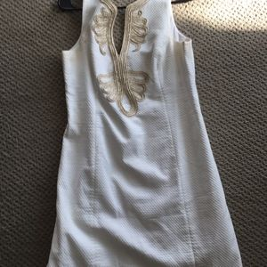 Lilly Pulitzer Classic White Dress Gold Embroidery